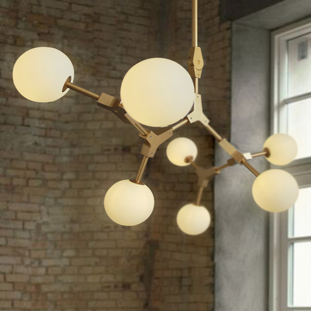 2018 New Nordic Creative Art Magic Bean Pendant Lights Glass Ball DNA Hanging Light Fixtures For Living Dining Room Restaurant