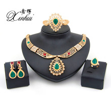 2017 hot sale african costume jewelry sets for women wedding bridal  rhinestone trendy jewelry