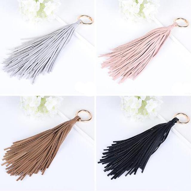 Leather Pendant Ring Tassel Keychain