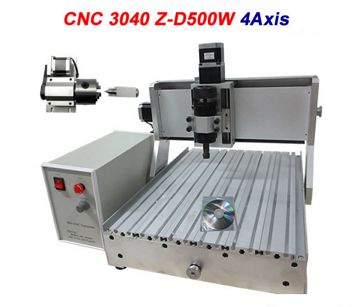 500W 4 Axis CNC Router Engraver 3040 Engraving Machine with ball screw to EU country free tax high quality 3040 cnc router engraver engraving machine frame no tax to eu