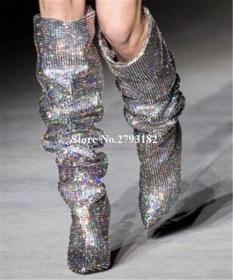 Picture Bling Dames Picture Longue Spike Sur De as Club Pointu Chaussures Or Bout As Genou Brillant Cristal Charme Bottes Talon Noir Strass 5SSq1w