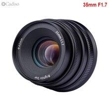 Cadiso 35 1.7 35mm F1.7 duża przysłona ręczne ustawianie ostrości kamery obiektyw do modeli Canon Sony NEX5 A6500 A7 II Fuji 4/3 do montażu bez lustra aparatu