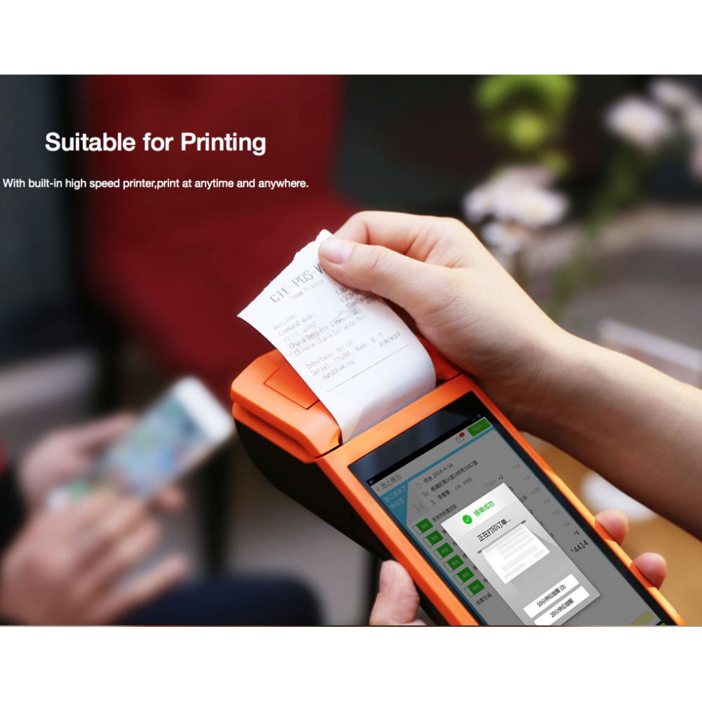 RD-V1 handheld touch screen all-in-one QR cash register receipt printer 5.5 inch smart Android Pos system with free SDK