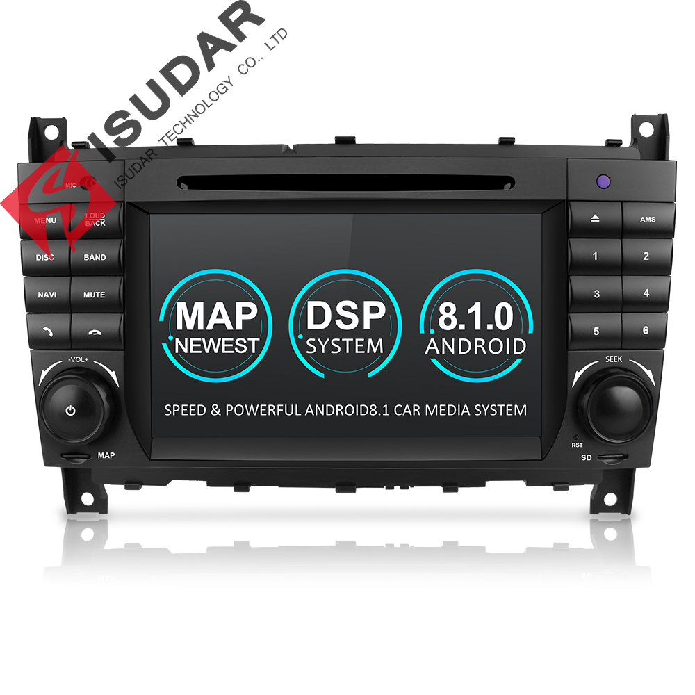 Isudar Two Din Car Multimedia Player Android 8.1 DVD Player For Mercedes/Benz/W203/CLK200/CLK22/C180/C200 GPS Radio FM 2GB 16GB