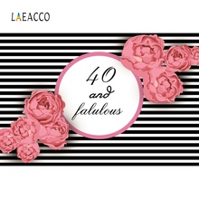 Laeacco Happy 40th Birthday Party Stripes Fabulous Flower Poster Photo Backdrops Photographic Backgrounds Photocall Studio