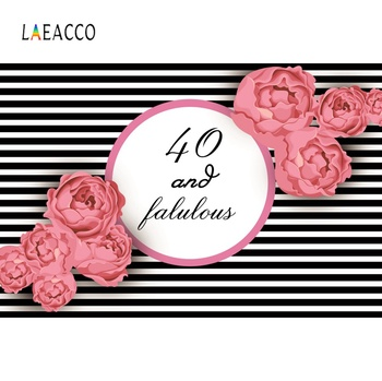 Laeacco Happy 40th Birthday Party Stripes Fabulous Flower Poster Photo Backdrops Photographic Backgrounds Photocall Photo Studio laeacco pink unicorn birthday party star baby poster portrait photographic backgrounds photo backdrops photocall photo studio