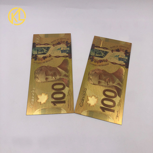 Billets de banque en feuille d'or colorée | Lot de 2 billets canadiens en plastique 100 Dollar, réplique de CAD 100, pour argent cadeau et Collection