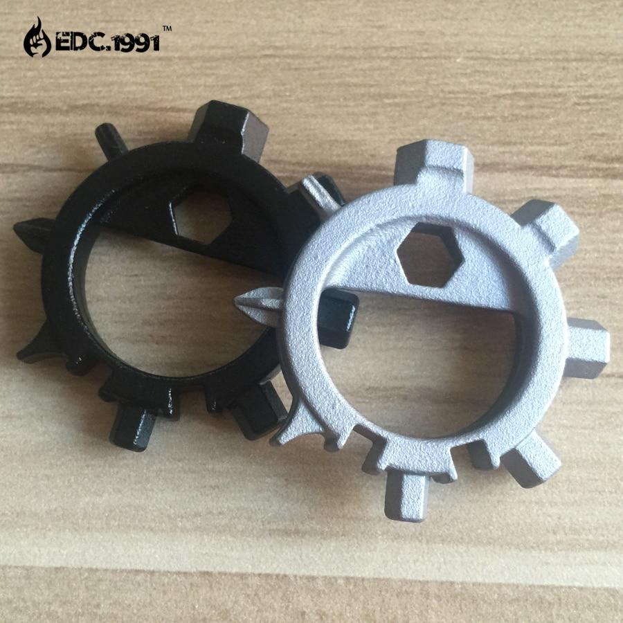 Multi function stainless steel EDC toos 12 screwdriver key ring bottle opener bicycle adjust tools