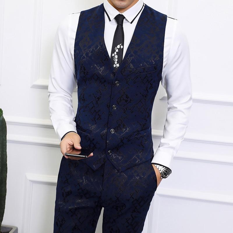 Suit vest men 39 s business casual suit vest S 6XL high quality fabric boutique men 39 s fashion printing V neck sleeveless Slim vest in Vests from Men 39 s Clothing