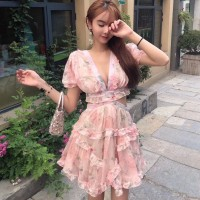 New Fashion 2019 Designer Runway Dress Women's Hollow Out Ruffles Floral Print Chiffon Sexy Backless Deep V neck Mini Dress