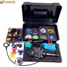 Livraison gratuite beyblade ensemble comme enfants jouets (plus que 20 pièces de rechange + 8 beyblades + 1 poignées + 2 lanceurs + beyblade boîte)