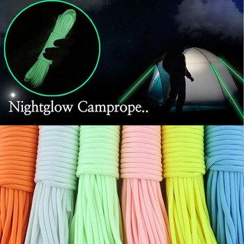 Cuerda luminosa de nailon Paracord de 9 hebras de 20m, cuerda de paracaídas para escalar y acampar al aire libre