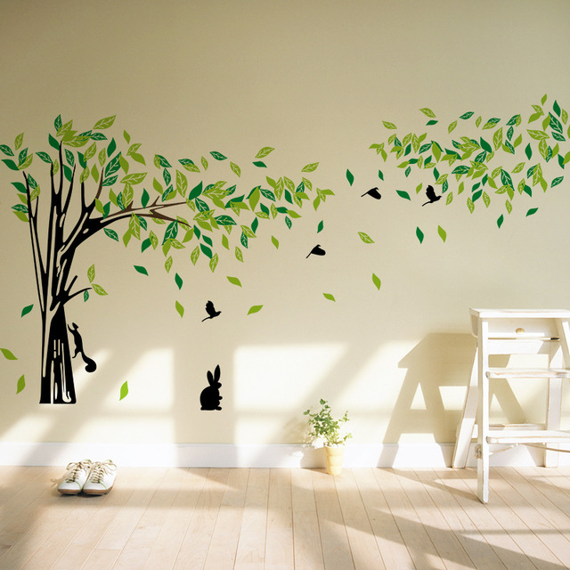 2f57e04eb1 Large Size TV Background Big Tree Squirrel Bird Wall Stickers Art Home Decor  Living Room Removable Vinyl Decoration Decals