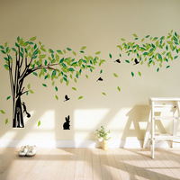 Large Size TV Background Big Tree Squirrel Bird Wall Stickers Art Home Decor Living Room Removable Vinyl Decoration Decals