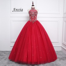 Anxia Halter Beaded Red Tulle Quinceanera Dress 2017 Puffy Princess Ball Gown Vestidos De 15 Anos Sweet 16 Dresses
