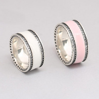 High Quality 925 Sterling Silver Ring For Women Hearts Ring Soft White Pink Enamel Clear CZ