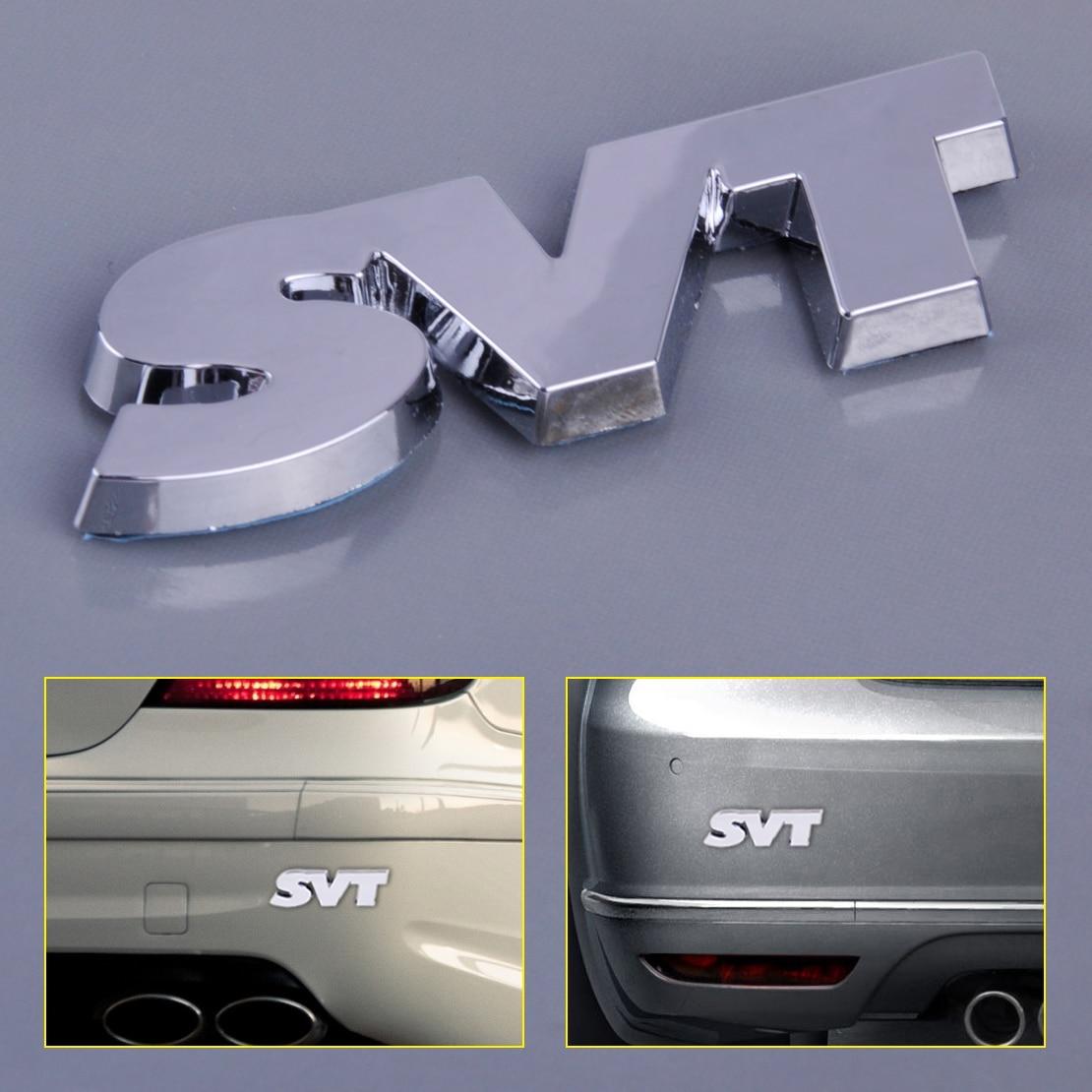 Silver Auto Car Side Rear Trunk SVT Logo Emblem Decals Badge Sticker Decoration
