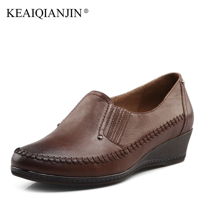 KEAIQIANJIN Woman Genuine Leather Oxfords Spring Autumn Black Brown Loafers Shoes Metal Decoration Genuine Leather Lazy Shoes forum novelties men s teenz unisex costume toga