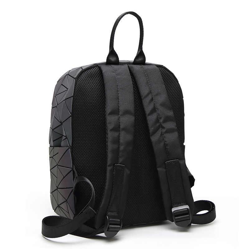 2018 novo luminoso mochilas feminino moda menina diário mochila geometria pacote lantejoulas sacos de escola dobrável