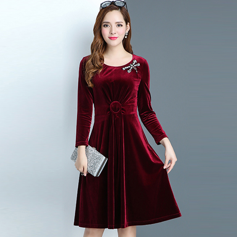 Autumn Winter 2018 new Gold Velvet A line Elegant Dress Woman Casual Large Size Solid Color O neck Ladies long Dress QH131