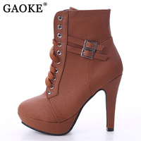 GAOKE 2017 Autumn Winter Women Ankle Boots High Heels Lace Up Leather Double Buckle Platform Short