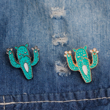 Fashion Cartoon Cactus Brooches Cute Mini Plant Pot Enamel for Women Denim Jackets Lapel Pins Hat Badges Kid Jewelry Accessories