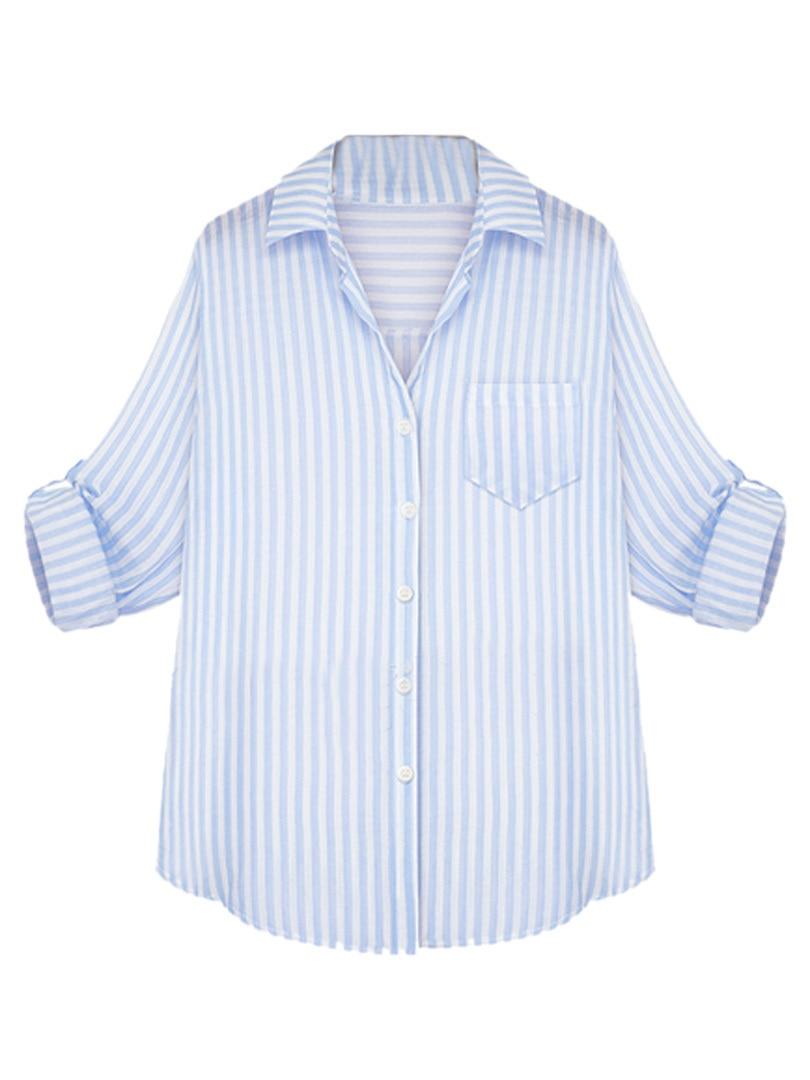 Online Shop Light Blue Stripe Long Sleeve Turn down Collar SIngle ...
