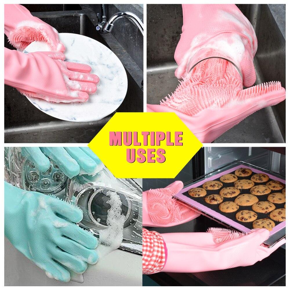 Magia Silicone Espanando Luvas de Lavar Louça Limpeza Luvas de Limpeza para Lavar Os Pratos Talheres Máquina de Lavar-up Luvas de Cozinha