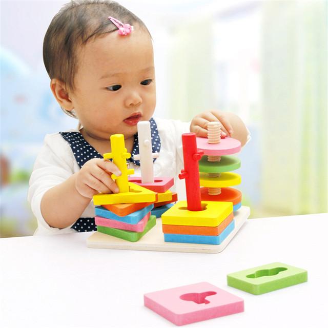 Juguetes de madera Geométricas Clasificación Junta Bloques Montessori Juguetes Niños coincidentes cognitivas bloques de los niños Juguetes Para Bebés CU94