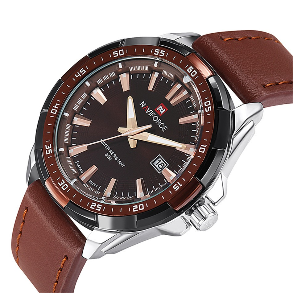 Naviforce Men Quartz Watch with Brown Leather Strap