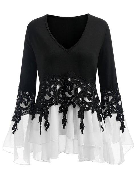 786a0adb224 Gamiss Plus Size 5XL Sexy Bell Flare Sleeve Chiffon Tunic Tops Lace Crochet  Peplum Blouse Women