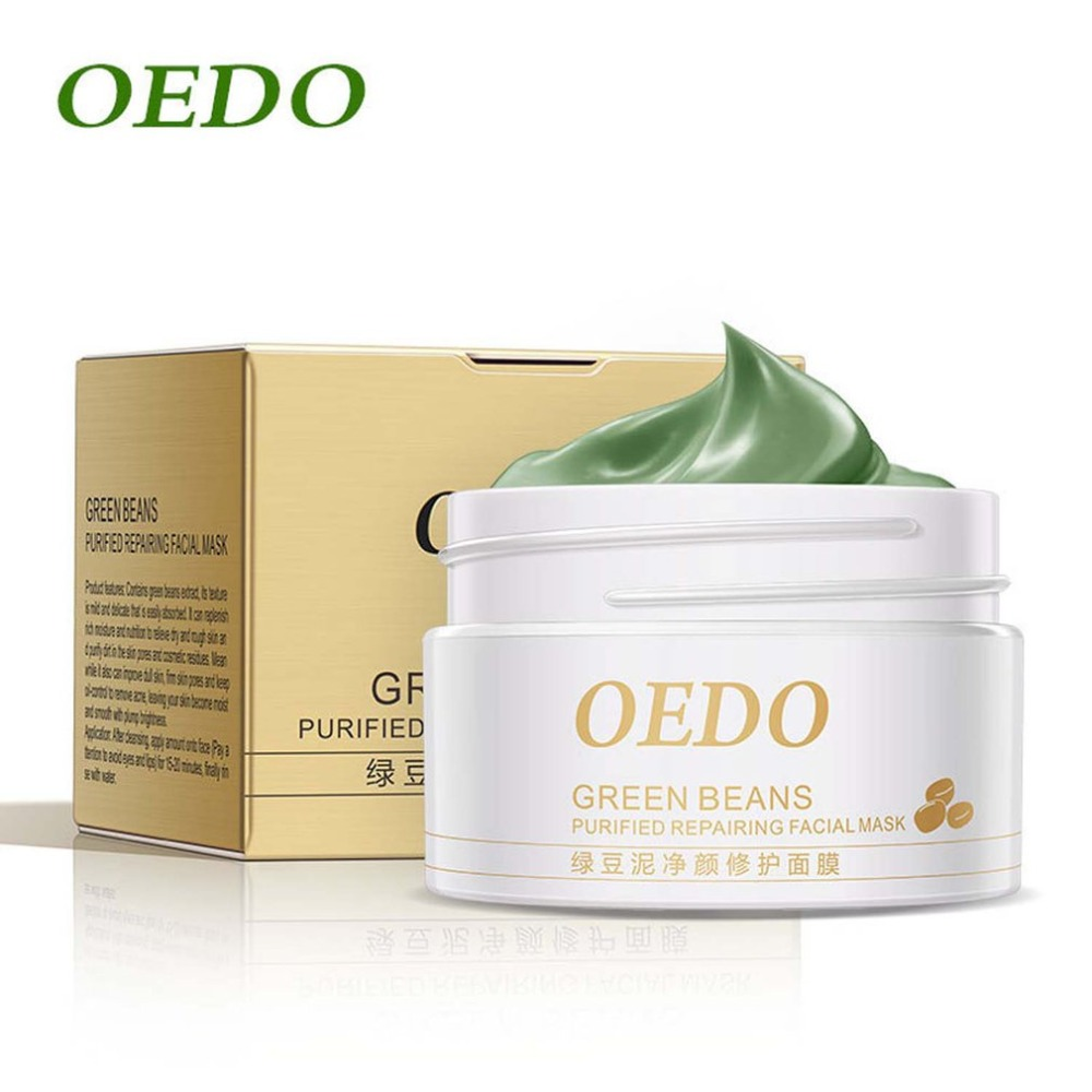 OEDO Green Beans Clean Pores Shrink Purified Repairing Facial Mask Acne Treatment Moisturizer Whitening Clean Face Mask Beauty