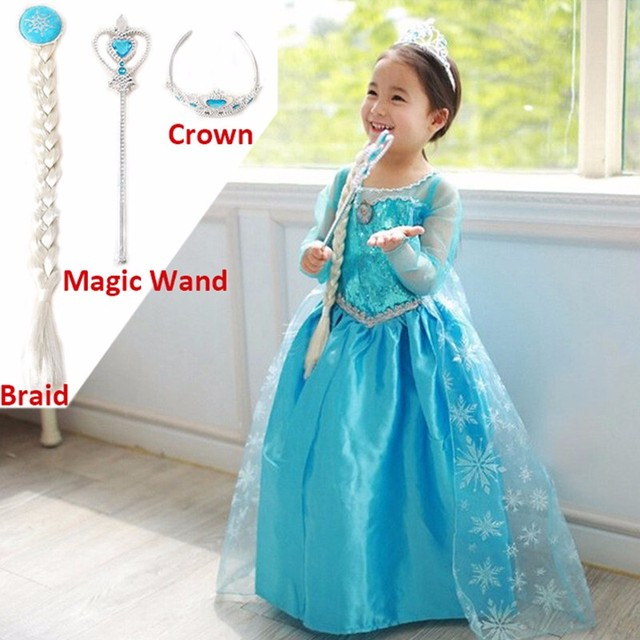 b75ac914bb9bf US $9.15 21% OFF|Baby Girls Anna Elsa Princess Blue Dresses Girls new Dress  Party Costume with 3pcs Magic Wand+Braid Crown Children Girls Cosplay-in ...