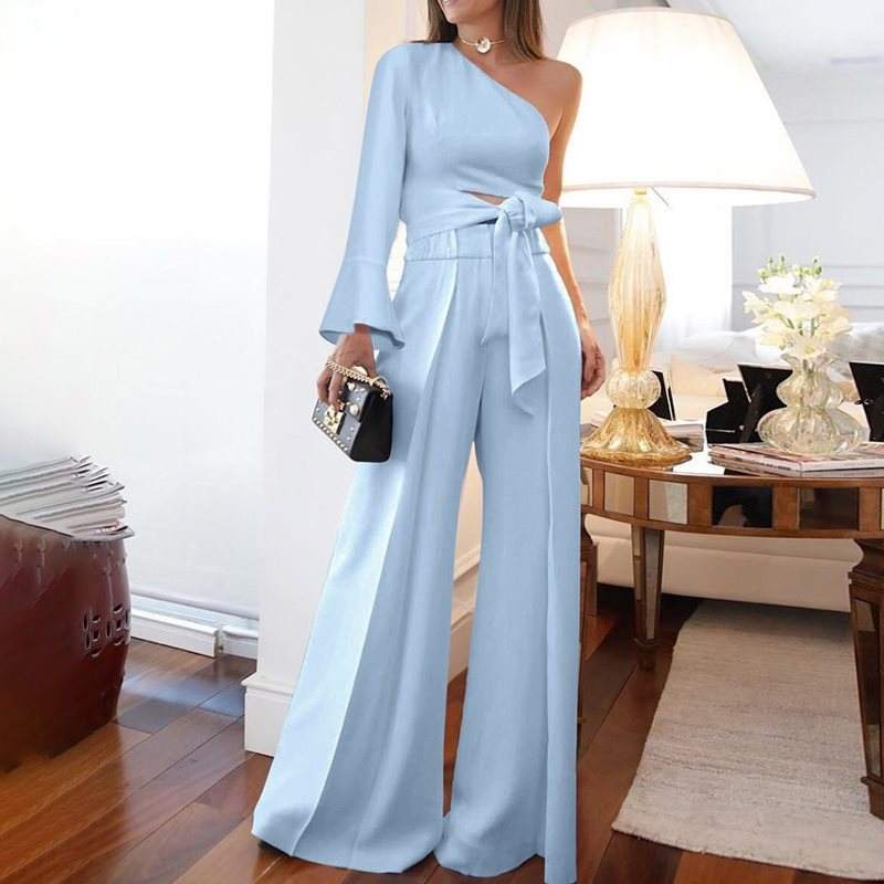Lace Up Plain Full Length Flare Wide Legs   Jumpsuit   Women Lady Elegant Blue OL Office One Shoulder Sleeve   Jumpsuit   Plus Size 5XL