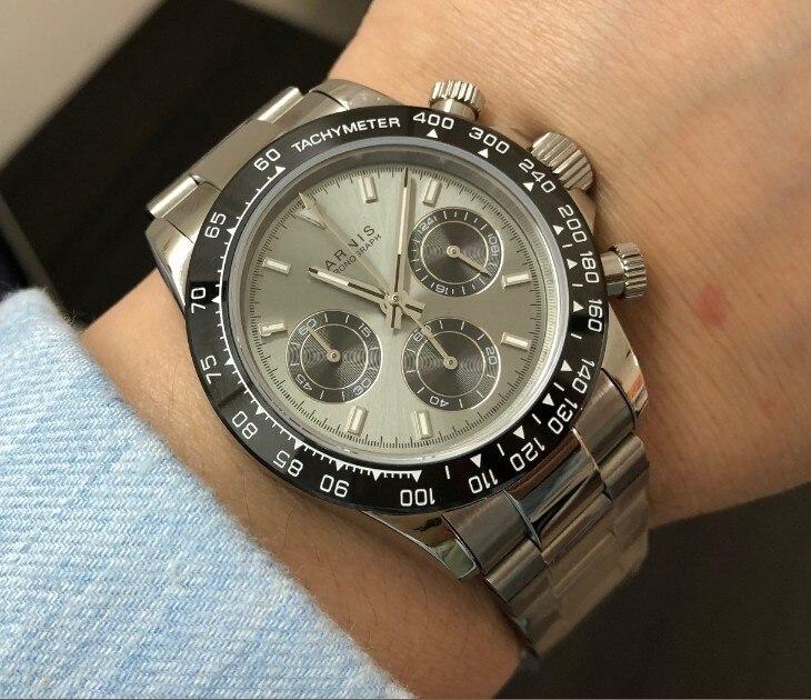 사파이어 크리스탈 39mm parnis 일본 쿼츠 무브먼트 남자 시계 다기능 그레이 다이얼 세라믹 베젤 쿼츠 시계 p102 8-에서수정 시계부터 시계 의  그룹 3