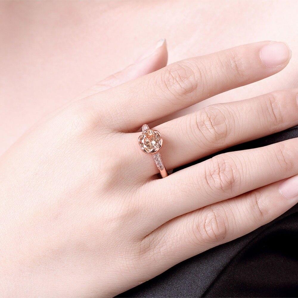 Brand Magic Rose Flower champagne/White Zircon Ring Real Rose Gold ...