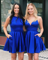 Short Royal Blue Prom Dresses Backless Spaghetti Strap A Line Satin Sexy Evening Party Gown 2019 Cheap Wedding Party Dress