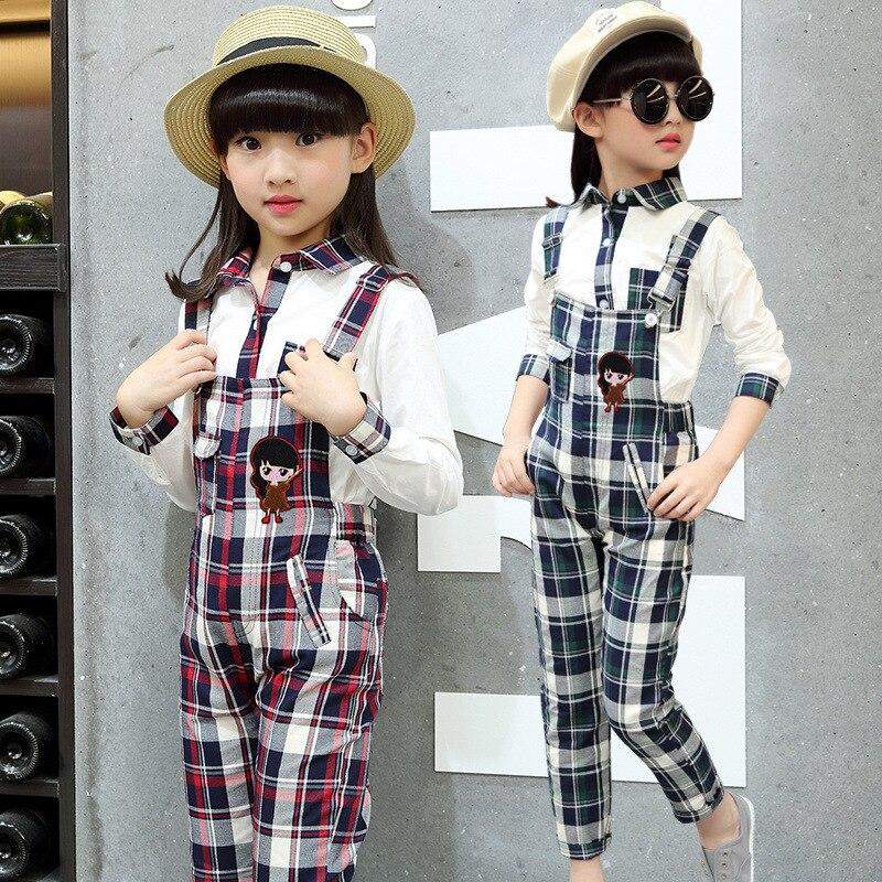 autumn fashion girls overalls set Korean children pants Plaid suit clothing