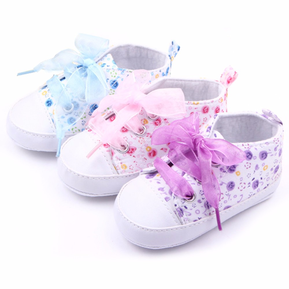 HOT Baby Shoes Flower Ribbon Baby Girl Sneaker Lace Up Soft Sole Prewalkers 1