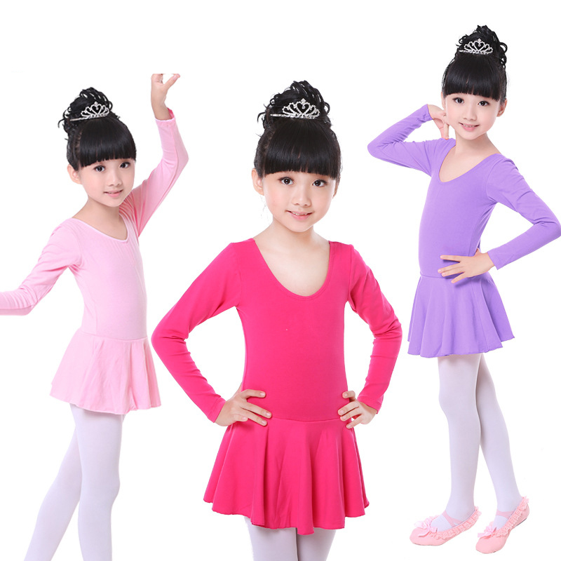 Autumn and winter practice uniforms Long sleeved Cotton Dress Gymnastics Leotard for Girls Ballet Dress Clothing Kids Dance Wear