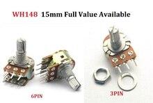 5PC WH148 B1K B2K B5K B10K B20K B50K B100K B250K B500K B1M 3Pin 6pin 15mm Shaft Amplifier Dual Stereo Potentiometer 1K 2K 5K 10K