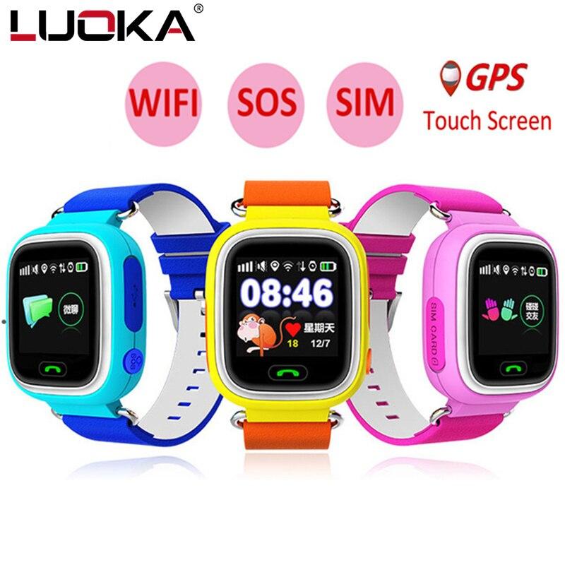 LUOKA Q90 GPS Telefon Positionierung Mode Kinder Uhr 1,22 Zoll Farbe Touchscreen WIFI SOS Smart Uhr Baby PK Q80 Q50 Q60
