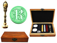 Vintage Luxury Letter R Alphabet Initial Engraved Wedding Invitation Wax Seal Sealing Stamp Brass Peacock Metal