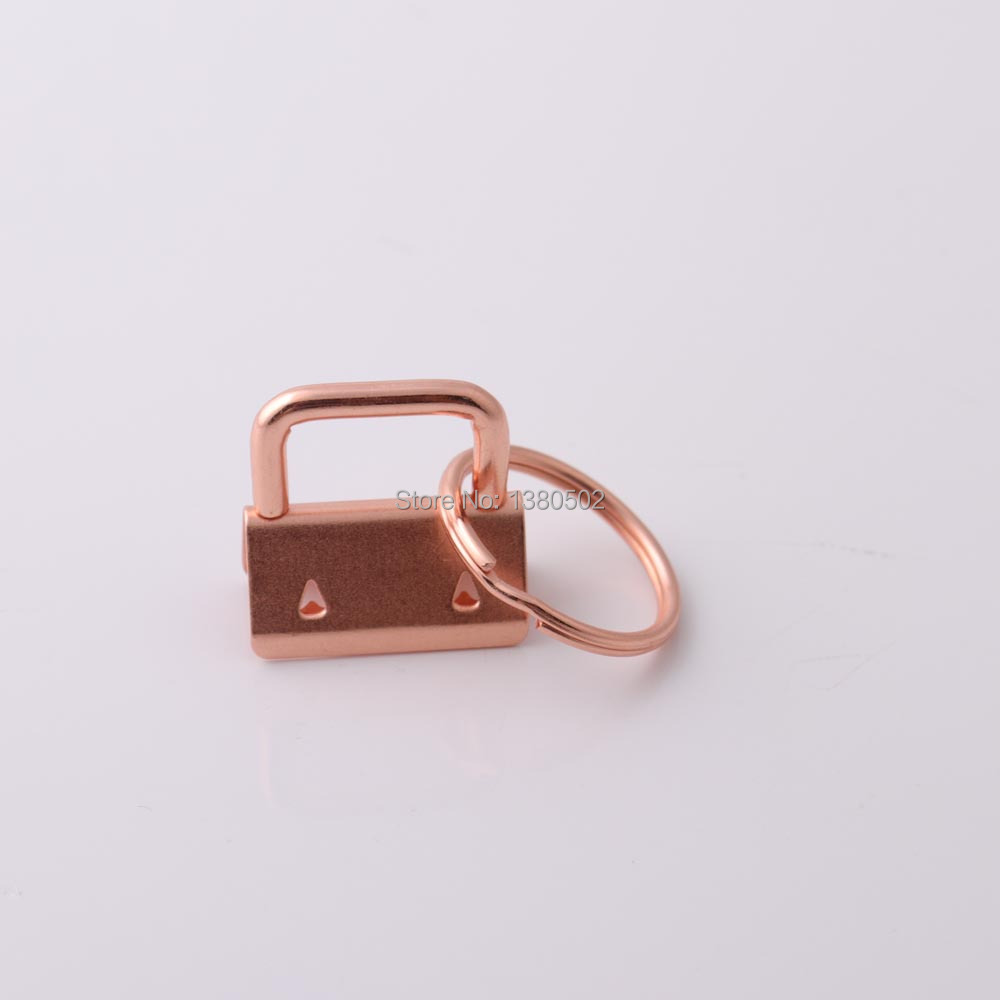 100sets 25mm rose gold and gold color Key Fob Hardware with key ring for webbing lanyard