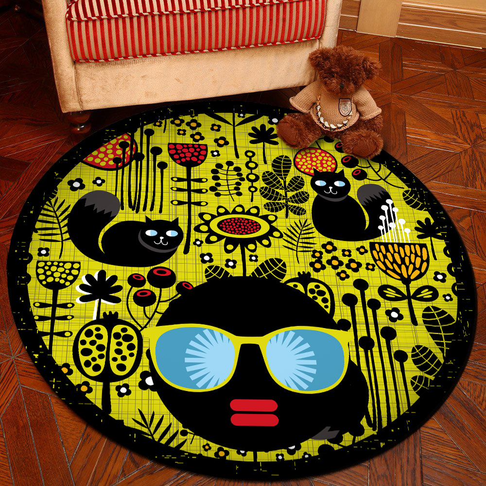 Cartoon Round Carpet Soft Carpets Anti-slip Rugs Living Room Bedroom Computer Chair Mat Floor Mat for Kids Room Home Decor