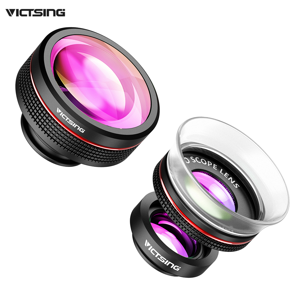 2017 New VICTSING 3-in-1 Phone Camera Lens Kit Clip-On Supreme Fisheye Lens + 12X Macro + 24X Super Macro Lens for iPhone etc