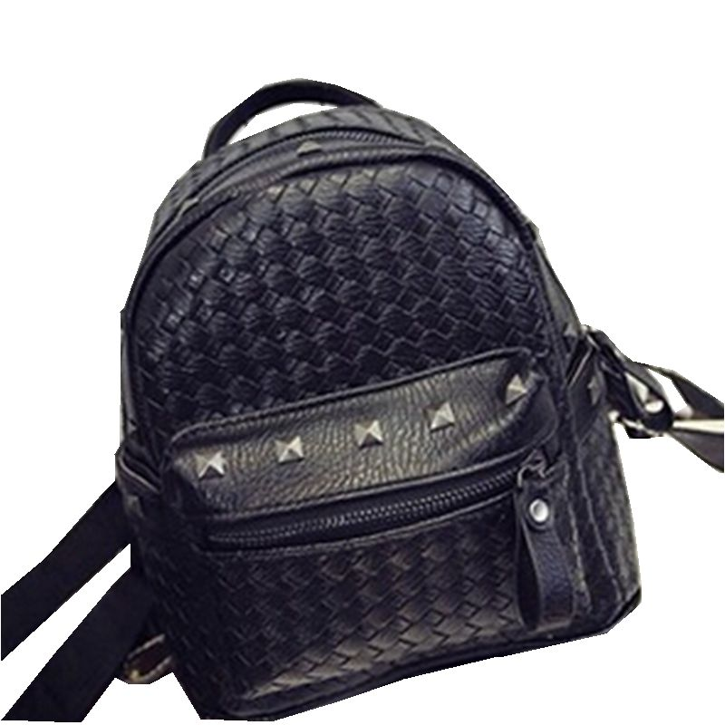 2510eb5fa3f78 New 2016 Fashion Mini Bags PU Leather College Bag Rivet Backpacks Knitting  Leather Backpack Women Free Drop Shipping-in Backpacks from Luggage & Bags  on ...