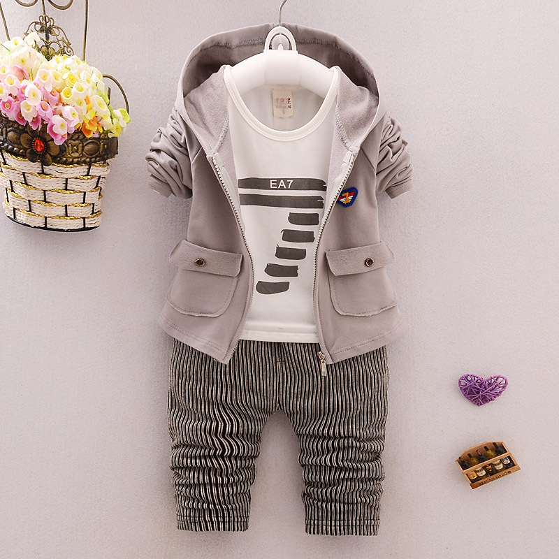 BibiCola toddler Clothes Baby Boy Clothing set Sport Suits fashion Hooded +T-shirt + Pants 3 pcs Boys Tracksuit Sets стоимость