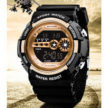 Mens Digital Light Date Alarm Waterproof LCD Military Army Quartz Sports Watch
