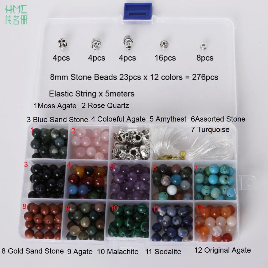 8mm 1 set Round Beads Natural Stone Beads Including Buddha Skull Beads Elastic String Kit Beads For Jewelry Making Bracelet DIY
